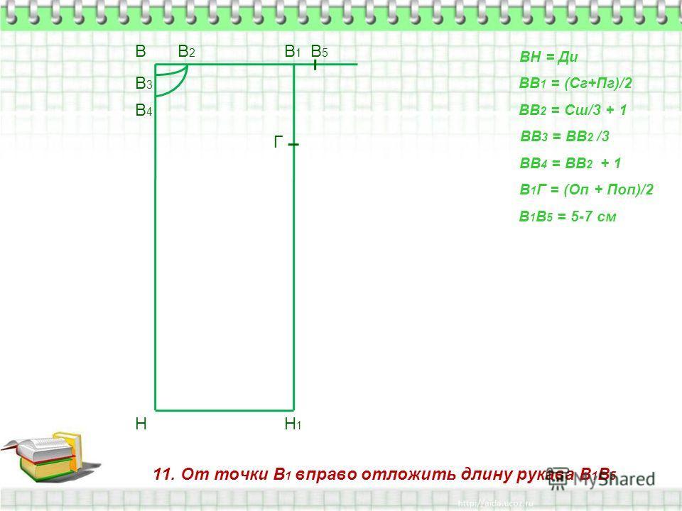 11. От точки В 1 вправо отложить длину рукава В 1 В 5 В Н ВН = Ди ВВ 1 = (Сг+Пг)/2 В1В1 Н1Н1 ВВ 2 = Сш/3 + 1 В2В2 ВВ 3 = ВВ 2 /3 В3В3 ВВ 4 = ВВ 2 + 1 В4В4 В 1 Г = (Оп + Поп)/2 Г В 1 В 5 = 5-7 см В5В5