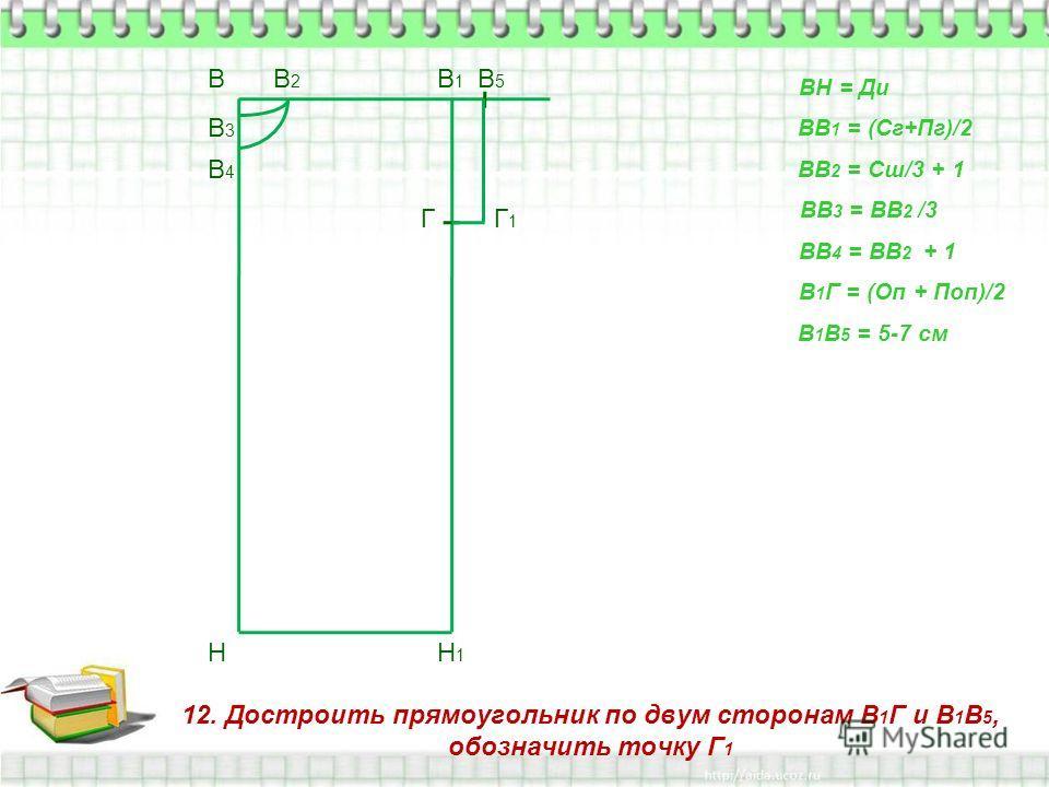 12. Достроить прямоугольник по двум сторонам В 1 Г и В 1 В 5, обозначить точку Г 1 В Н ВН = Ди ВВ 1 = (Сг+Пг)/2 В1В1 Н1Н1 ВВ 2 = Сш/3 + 1 В2В2 ВВ 3 = ВВ 2 /3 В3В3 ВВ 4 = ВВ 2 + 1 В4В4 В 1 Г = (Оп + Поп)/2 Г В 1 В 5 = 5-7 см В5В5 Г1Г1