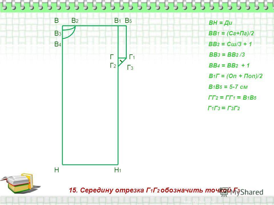 15. Середину отрезка Г 1 Г 2 обозначить точкой Г 3 В Н ВН = Ди ВВ 1 = (Сг+Пг)/2 В1В1 Н1Н1 ВВ 2 = Сш/3 + 1 В2В2 ВВ 3 = ВВ 2 /3 В3В3 ВВ 4 = ВВ 2 + 1 В4В4 В 1 Г = (Оп + Поп)/2 Г В 1 В 5 = 5-7 см В5В5 Г1Г1 ГГ 2 = ГГ 1 = В 1 В 5 Г2Г2 Г 1 Г 3 = Г 3 Г 2 Г3Г