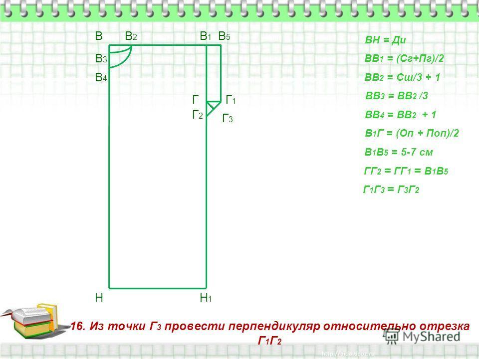 16. Из точки Г 3 провести перпендикуляр относительно отрезка Г 1 Г 2 В Н ВН = Ди ВВ 1 = (Сг+Пг)/2 В1В1 Н1Н1 ВВ 2 = Сш/3 + 1 В2В2 ВВ 3 = ВВ 2 /3 В3В3 ВВ 4 = ВВ 2 + 1 В4В4 В 1 Г = (Оп + Поп)/2 Г В 1 В 5 = 5-7 см В5В5 Г1Г1 ГГ 2 = ГГ 1 = В 1 В 5 Г2Г2 Г 1