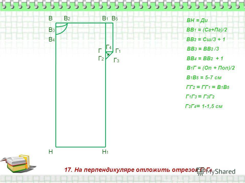 17. На перпендикуляре отложить отрезок Г 3 Г 4 В Н ВН = Ди ВВ 1 = (Сг+Пг)/2 В1В1 Н1Н1 ВВ 2 = Сш/3 + 1 В2В2 ВВ 3 = ВВ 2 /3 В3В3 ВВ 4 = ВВ 2 + 1 В4В4 В 1 Г = (Оп + Поп)/2 Г В 1 В 5 = 5-7 см В5В5 Г1Г1 ГГ 2 = ГГ 1 = В 1 В 5 Г2Г2 Г 1 Г 3 = Г 3 Г 2 Г3Г3 Г