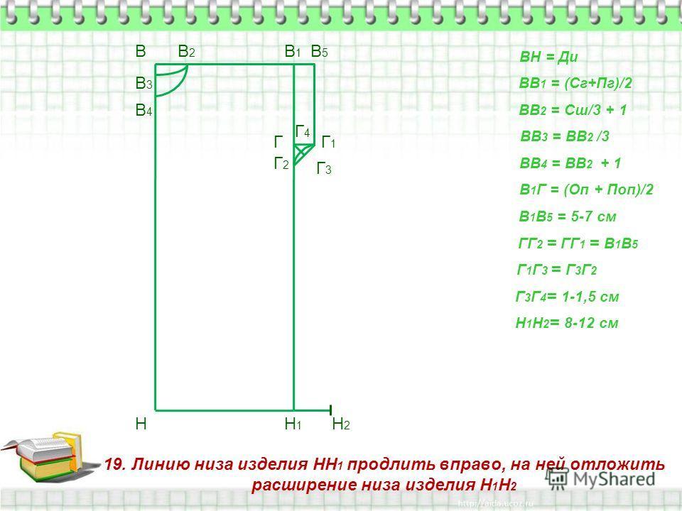 19. Линию низа изделия НН 1 продлить вправо, на ней отложить расширение низа изделия Н 1 Н 2 В Н ВН = Ди ВВ 1 = (Сг+Пг)/2 В1В1 Н1Н1 ВВ 2 = Сш/3 + 1 В2В2 ВВ 3 = ВВ 2 /3 В3В3 ВВ 4 = ВВ 2 + 1 В4В4 В 1 Г = (Оп + Поп)/2 Г В 1 В 5 = 5-7 см В5В5 Г1Г1 ГГ 2 =