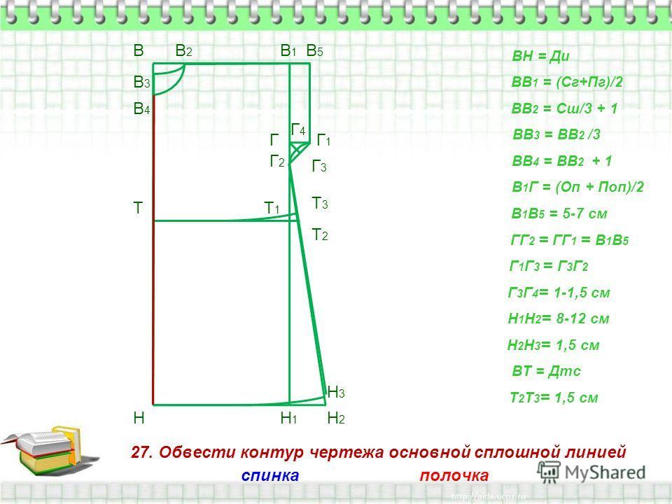27. Обвести контур чертежа основной сплошной линией В Н ВН = Ди ВВ 1 = (Сг+Пг)/2 В1В1 Н1Н1 ВВ 2 = Сш/3 + 1 В2В2 ВВ 3 = ВВ 2 /3 В3В3 ВВ 4 = ВВ 2 + 1 В4В4 В 1 Г = (Оп + Поп)/2 Г В 1 В 5 = 5-7 см В5В5 Г1Г1 ГГ 2 = ГГ 1 = В 1 В 5 Г2Г2 Г 1 Г 3 = Г 3 Г 2 Г3