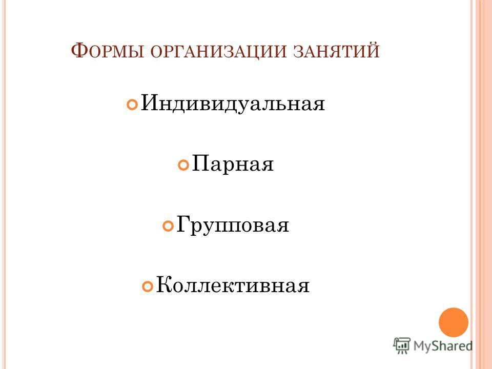 Ф ОРМЫ ОРГАНИЗАЦИИ ЗАНЯТИЙ Индивидуальная Парная Групповая Коллективная