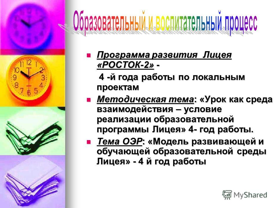 Программа развития Лицея «РОСТОК-2» - Программа развития Лицея «РОСТОК-2» - 4 -й года работы по локальным проектам 4 -й года работы по локальным проектам Методическая тема: «Урок как среда взаимодействия – условие реализации образовательной программы