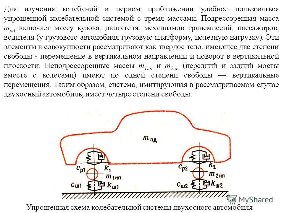 Упрощенная схема колебательной системы двухосного автомобиля Для изучения колебаний в первом приближении удобнее пользоваться упрощенной колебательной системой с тремя массами. Подрессоренная масса m пд включает массу кузова, двигателя, механизмов тр