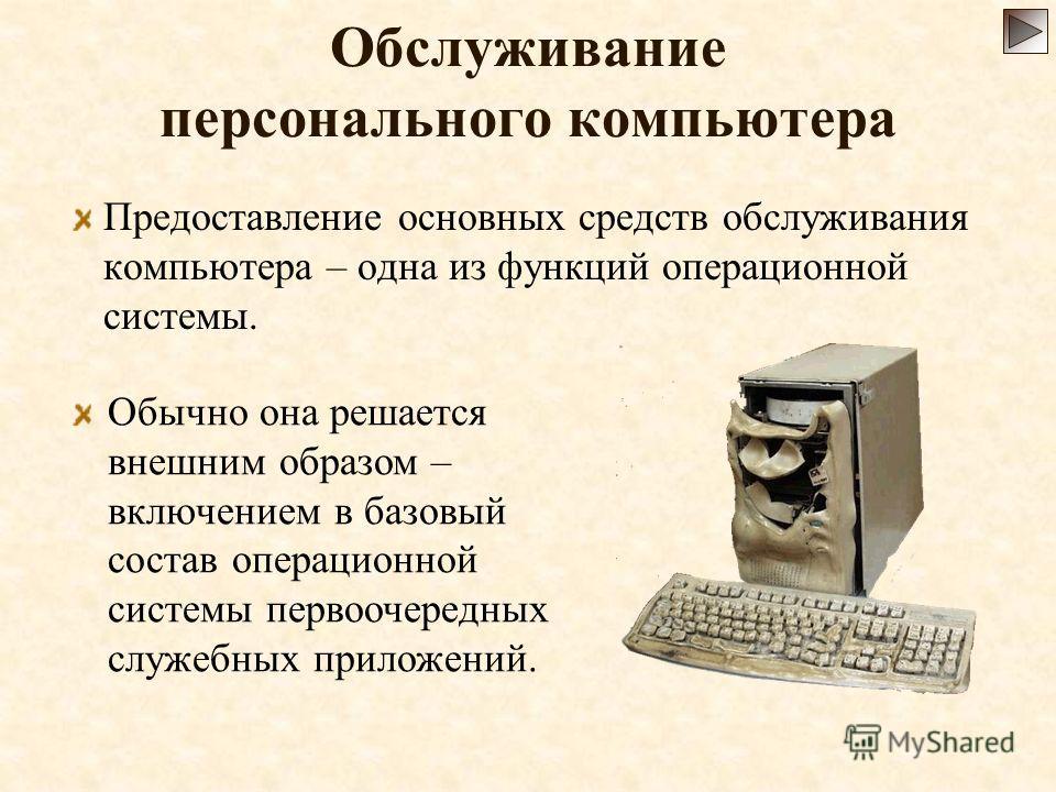Обслуживание персонального компьютера Предоставление основных средств обслуживания компьютера – одна из функций операционной системы. Обычно она решается внешним образом – включением в базовый состав операционной системы первоочередных служебных прил