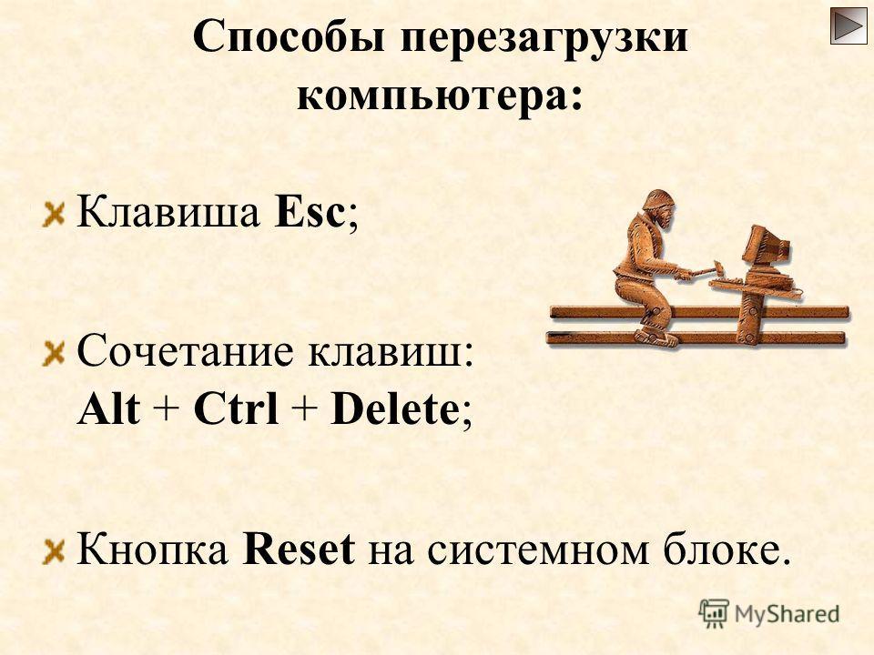 Способы перезагрузки компьютера: Клавиша Esc; Сочетание клавиш: Alt + Ctrl + Delete; Кнопка Reset на системном блоке.