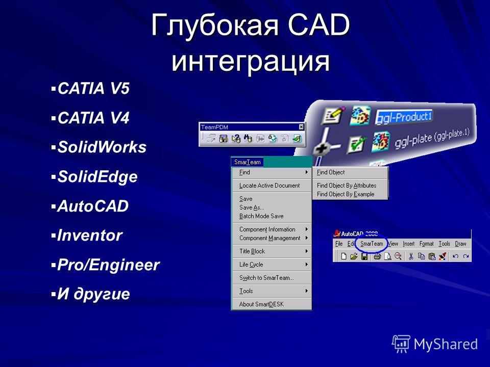 Глубокая CAD интеграция CATIA V5 CATIA V4 SolidWorks SolidEdge AutoCAD Inventor Pro/Engineer И другие