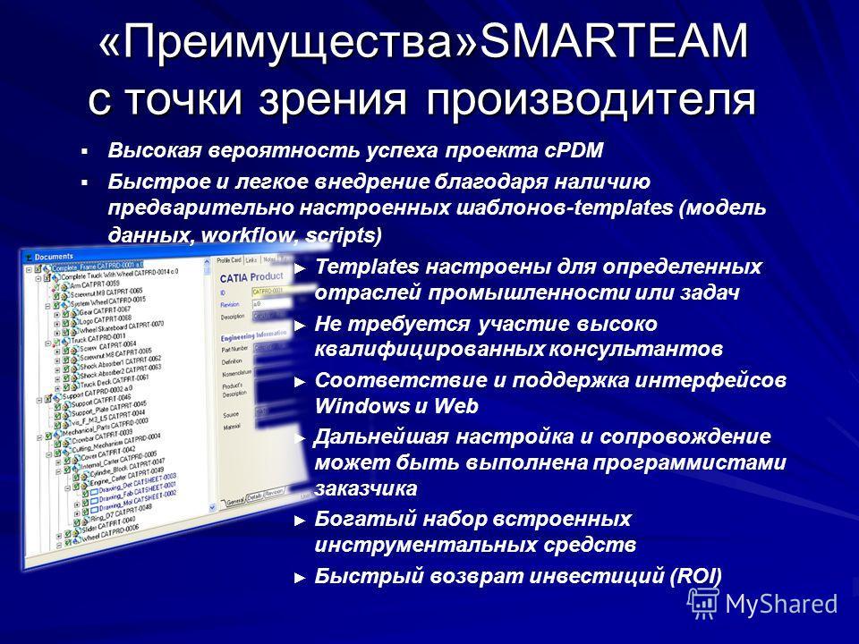 «Преимущества»SMARTEAM с точки зрения производителя Высокая вероятность успеха проекта cPDM Быстрое и легкое внедрение благодаря наличию предварительно настроенных шаблонов-templates (модель данных, workflow, scripts) Templates настроены для определе