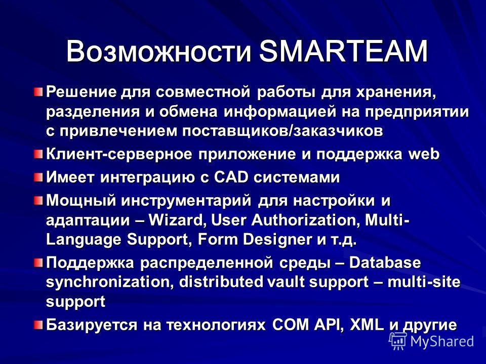 Возможности SMARTEAM Возможности SMARTEAM Решение для совместной работы для хранения, разделения и обмена информацией на предприятии с привлечением поставщиков/заказчиков Клиент-серверное приложение и поддержка web Имеет интеграцию с CAD системами Мо