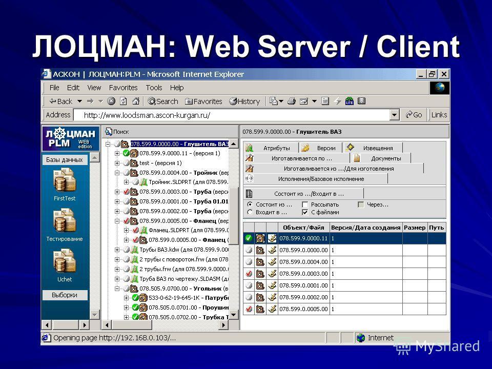 ЛОЦМАН: Web Server / Client