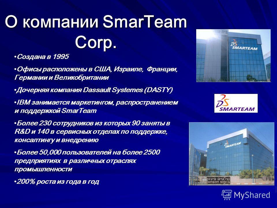 О компании SmarTeam Corp. Создана в 1995 Офисы расположены в США, Израиле, Франции, Германии и Великобритании Дочерняя компания Dassault Systemes (DASTY) IBM занимается маркетингом, распространением и поддержкой SmarTeam Более 230 сотрудников из кото