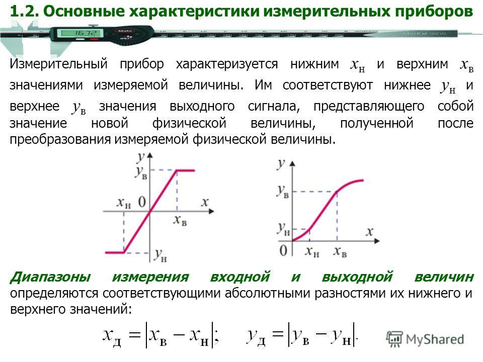 Диапазоны измерения входной и выходной величин определяются соответствующими абсолютными разностями их нижнего и верхнего значений: Измерительный прибор характеризуется нижним x н и верхним x в значениями измеряемой величины. Им соответствуют нижнее