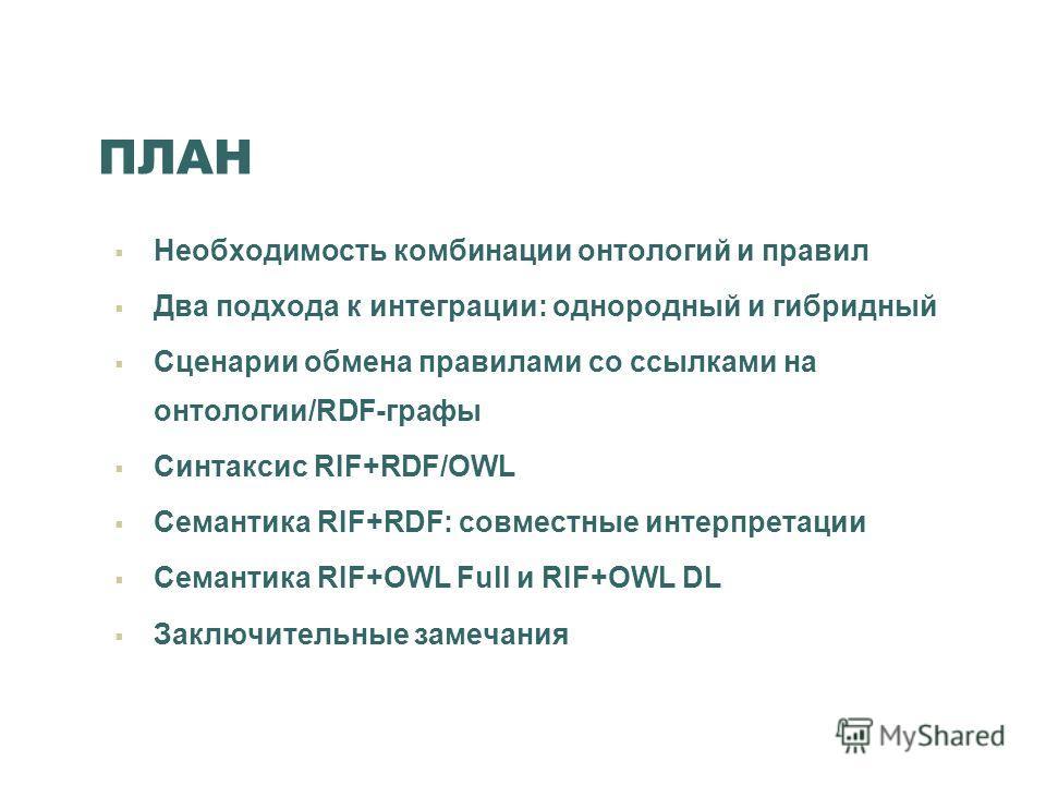 ПЛАН Необходимость комбинации онтологий и правил Два подхода к интеграции: однородный и гибридный Сценарии обмена правилами со ссылками на онтологии/RDF-графы Синтаксис RIF+RDF/OWL Семантика RIF+RDF: совместные интерпретации Семантика RIF+OWL Full и