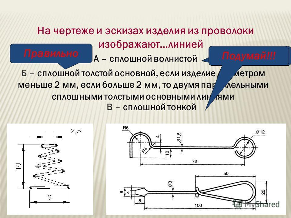 На чертеже и эскизах изделия из проволоки изображают…линией А – сплошной волнистой Б – сплошной толстой основной, если изделие диаметром меньше 2 мм, если больше 2 мм, то двумя параллельными сплошными толстыми основными линиями В – сплошной тонкой По