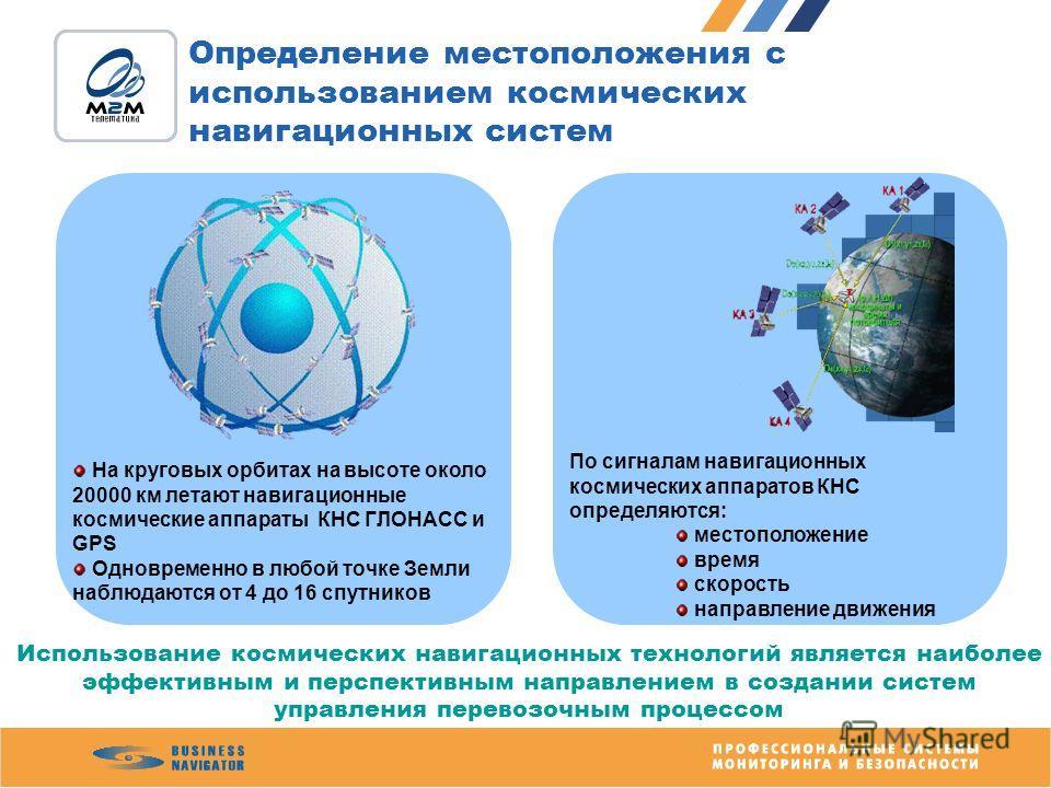 Определение местоположения с использованием космических навигационных систем На круговых орбитах на высоте около 20000 км летают навигационные космические аппараты КНС ГЛОНАСС и GPS Одновременно в любой точке Земли наблюдаются от 4 до 16 спутников По