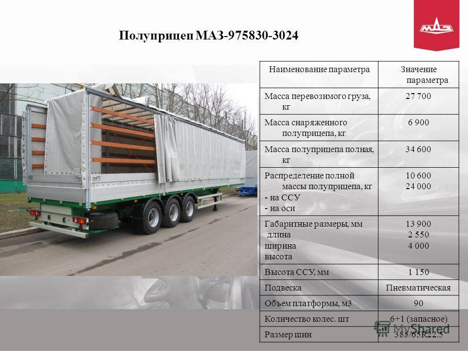 Полуприцеп МАЗ-975830-3024 Наименование параметраЗначение параметра Масса перевозимого груза, кг 27 700 Масса снаряженного полуприцепа, кг 6 900 Масса полуприцепа полная, кг 34 600 Распределение полной массы полуприцепа, кг - на ССУ - на оси 10 600 2