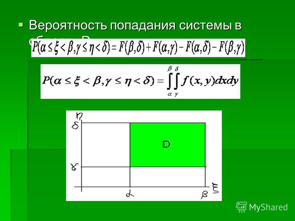 Вероятность попадания системы в область D: Вероятность попадания системы в область D: