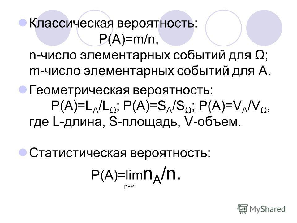 Классическая вероятность: Р(А)=m/n, n-число элементарных событий для Ω; m-число элементарных событий для А. Геометрическая вероятность: Р(А)=L A /L Ω ; Р(А)=S A /S Ω ; Р(А)=V A /V Ω, где L-длина, S-площадь, V-объем. Статистическая вероятность: Р(А)=l