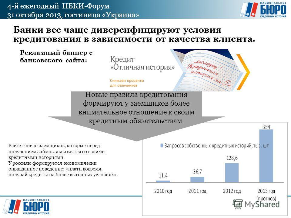 4-й ежегодный НБКИ-Форум 31 октября 2013, гостиница «Украина» Банки все чаще диверсифицируют условия кредитования в зависимости от качества клиента. Рекламный баннер с банковского сайта: Новые правила кредитования формируют у заемщиков более внимател