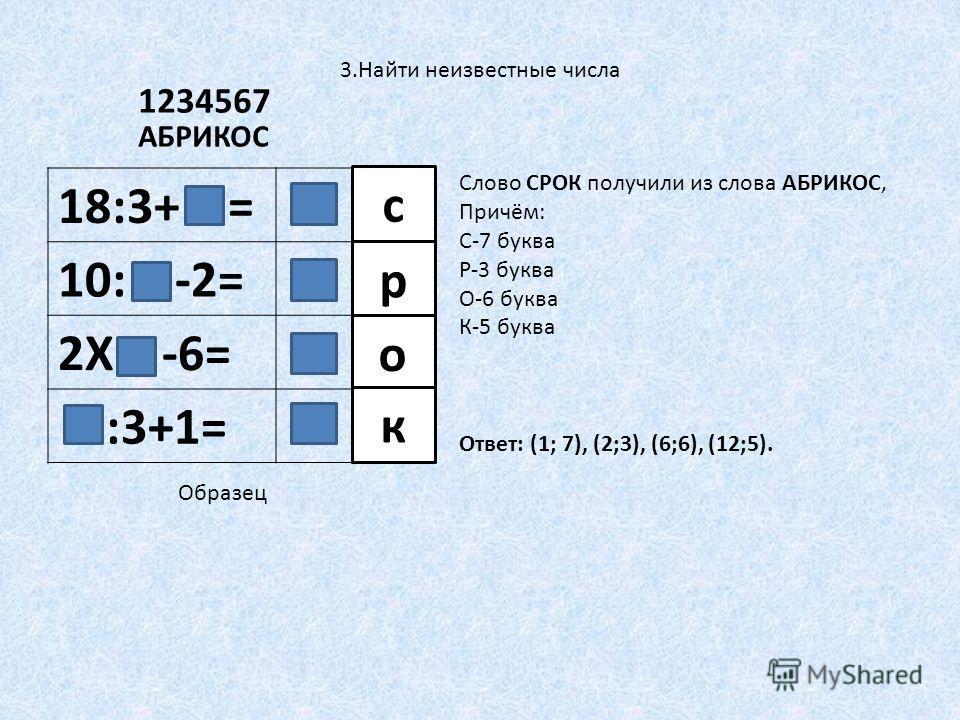 3.Найти неизвестные числа 18:3+ = 10: -2= 2Х -6= :3+1= с р о к АБРИКОС 1234567 Слово СРОК получили из слова АБРИКОС, Причём: С-7 буква Р-3 буква О-6 буква К-5 буква Образец Ответ: (1; 7), (2;3), (6;6), (12;5).