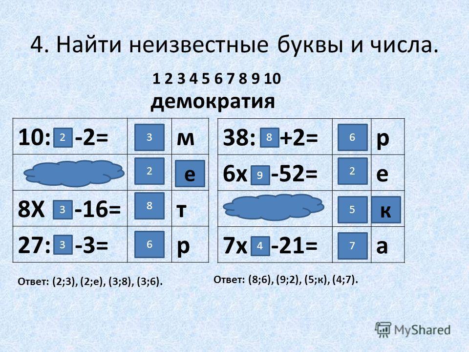 4. Найти неизвестные буквы и числа. 10: -2=м ? 8Х -16=т 27: -3=р демократия 1 2 3 4 5 6 7 8 9 10 2 3 3 3 8 6 2 е Ответ: (2;3), (2;е), (3;8), (3;6). 38: +2=р 6х -52=е ? 7х -21=а 6 2 5 7 8 9 4 к Ответ: (8;6), (9;2), (5;к), (4;7).