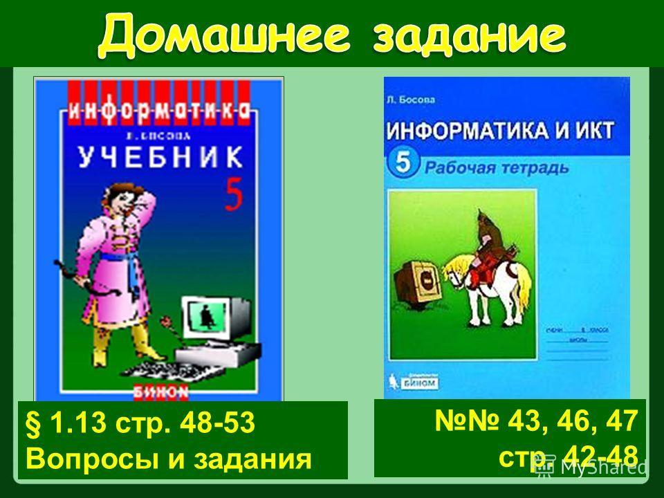 § 1.13 стр. 48-53 Вопросы и задания 43, 46, 47 стр. 42-48