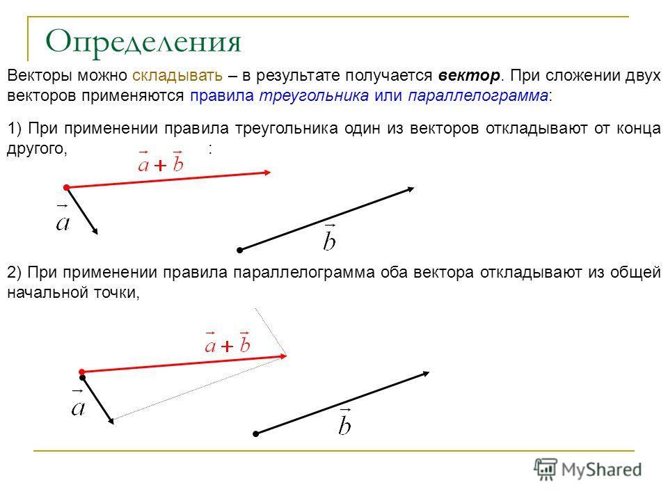 Векторы можно складывать – в результате получается вектор. При сложении двух векторов применяются правила треугольника или параллелограмма: 1) При применении правила треугольника один из векторов откладывают от конца другого, : 2) При применении прав