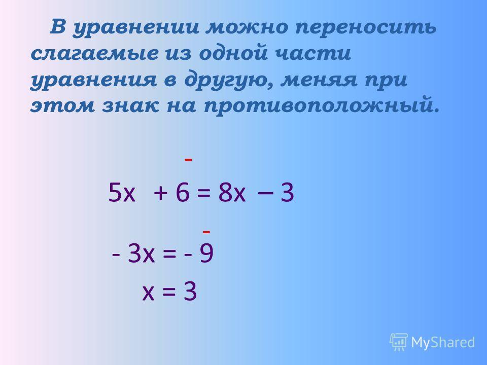 В уравнении можно переносить слагаемые из одной части уравнения в другую, меняя при этом знак на противоположный. 5х = – 3 68х - + - - 3х = - 9 х = 3