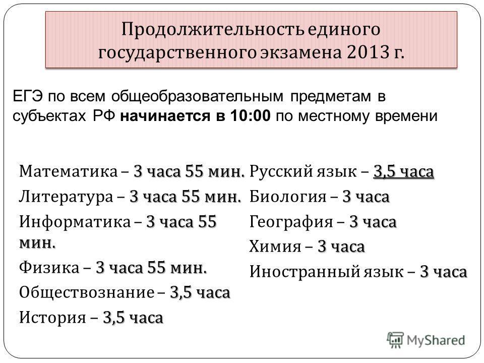 Продолжительность единого государственного экзамена 2013 г. 3 часа 55 мин. Математика – 3 часа 55 мин. 3 часа 55 мин. Литература – 3 часа 55 мин. 3 часа 55 мин. Информатика – 3 часа 55 мин. 3 часа 55 мин. Физика – 3 часа 55 мин. 3,5 часа Обществознан
