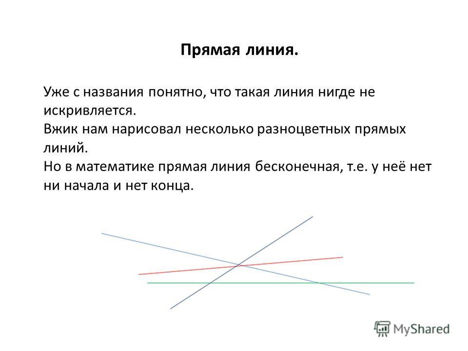 Прямая линия. Уже с названия понятно, что такая линия нигде не искривляется. Вжик нам нарисовал несколько разноцветных прямых линий. Но в математике прямая линия бесконечная, т.е. у неё нет ни начала и нет конца.
