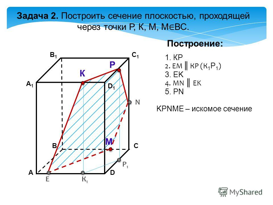 АD В1В1 ВС А1А1 C1C1 D1D1 Задача 2. Построить сечение плоскостью, проходящей через точки Р, К, М, М ВС. К Р М Построение: 1. КP 2. EM КP (К 1 Р 1 ) 3. EK KРNМE – искомое сечение К1К1 Р1Р1 E N 4. МN EK 5. РN