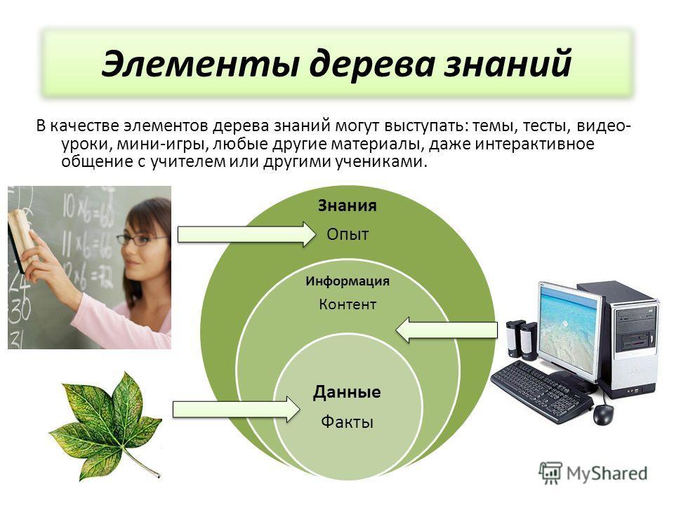 Элементы дерева знаний В качестве элементов дерева знаний могут выступать: темы, тесты, видео- уроки, мини-игры, любые другие материалы, даже интерактивное общение с учителем или другими учениками. Знания Опыт Информация Контент Данные Факты