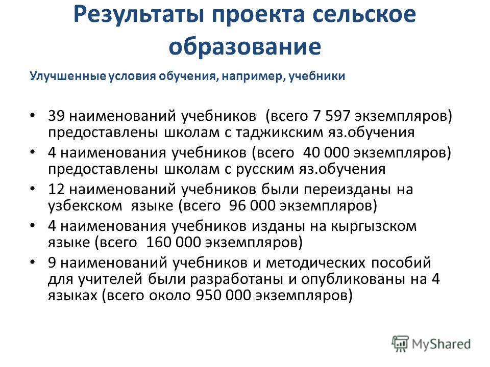 Результаты проекта сельское образование Улучшенные условия обучения, например, учебники 39 наименований учебников (всего 7 597 экземпляров) предоставлены школам с таджикским яз.обучения 4 наименования учебников (всего 40 000 экземпляров) предоставлен