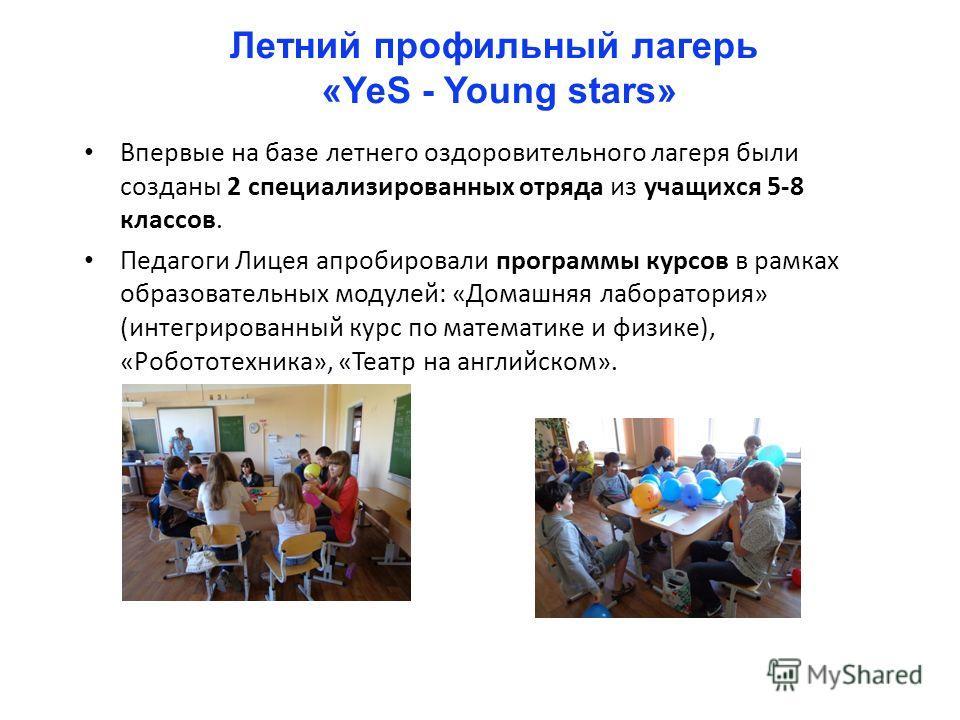 Летний профильный лагерь «YeS - Young stars» Впервые на базе летнего оздоровительного лагеря были созданы 2 специализированных отряда из учащихся 5-8 классов. Педагоги Лицея апробировали программы курсов в рамках образовательных модулей: «Домашняя ла
