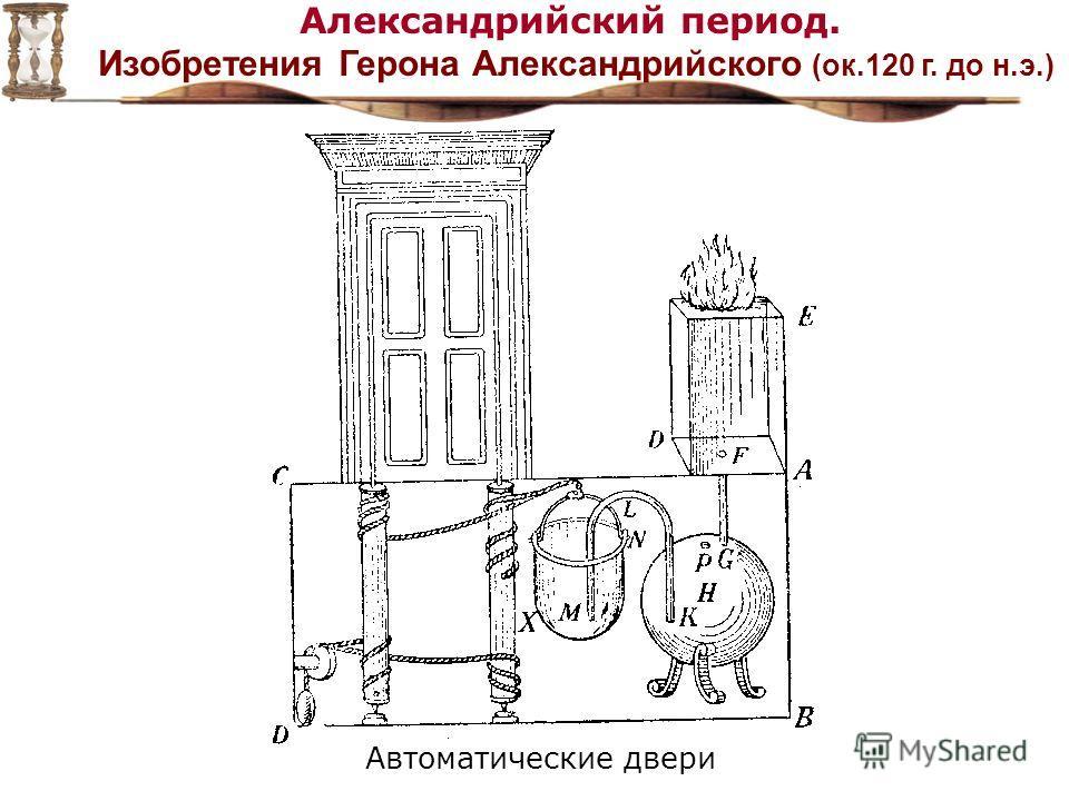 Александрийский период. Изобретения Герона Александрийского (ок.120 г. до н.э.) Автоматические двери