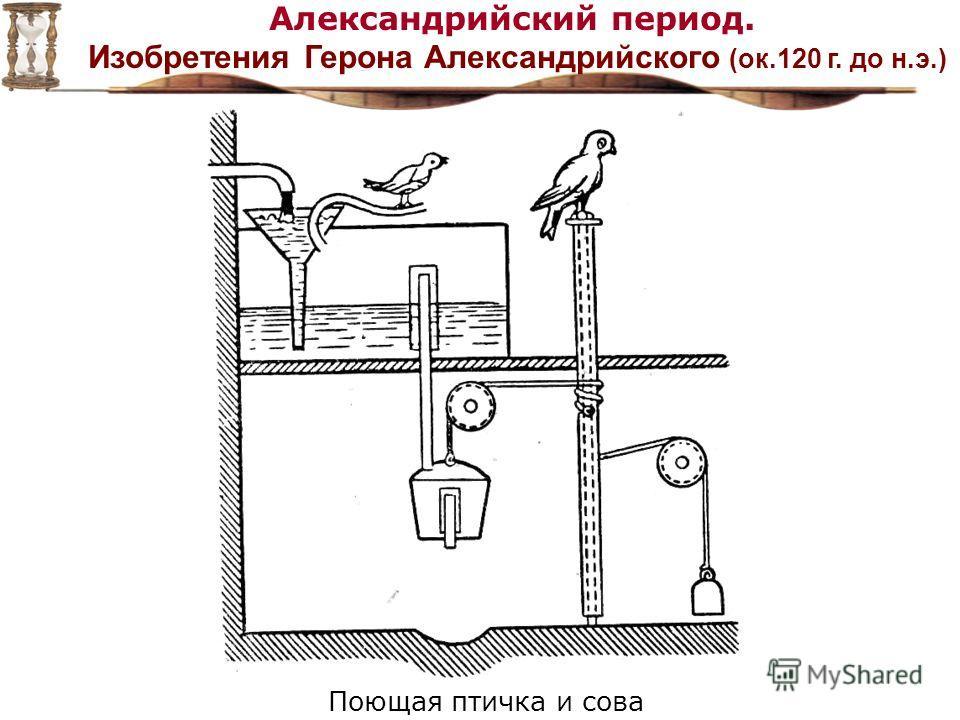 Александрийский период. Изобретения Герона Александрийского (ок.120 г. до н.э.) Поющая птичка и сова