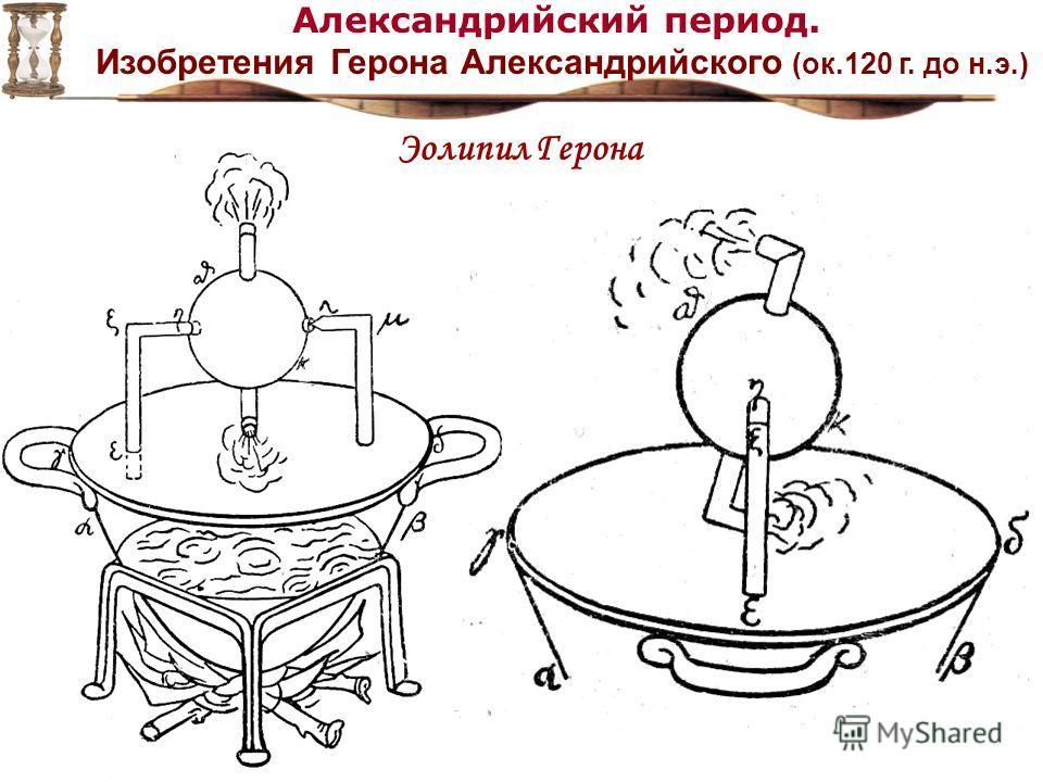 Александрийский период. Изобретения Герона Александрийского (ок.120 г. до н.э.) Эолипил Герона