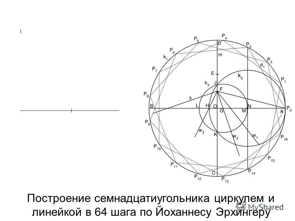 Построение семнадцатиугольника циркулем и линейкой в 64 шага по Йоханнесу Эрхингеру