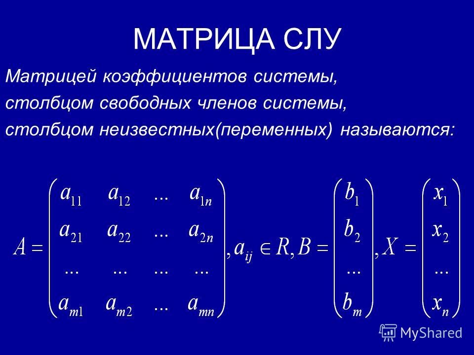 СИСТЕМЫ ЛИНЕЙНЫХ УРАВНЕНИЙ Под системой линейных уравнений (СЛУ) мы будем понимать следующую запись: где - «неизвестные» системы, - коэффициенты системы, m – число уравнений, n - число неизвестных