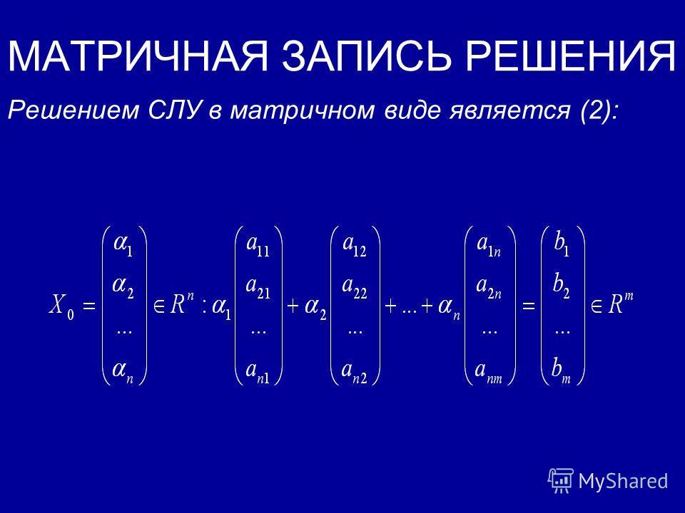 МАТРИЧНАЯ ЗАПИСЬ РЕШЕНИЯ Решением СЛУ в матричном виде является: