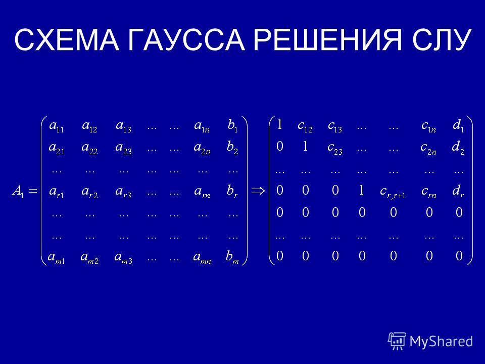 МЕТОД ГАУССА РЕШЕНИЯ СЛУ Метод Гаусса заключается в приведении расширенной матрицы данной СЛУ элементарными преобразованиями над строками, к некоторому специальному виду (почти трапециевидному)- прямой ход схемы Гаусса, и нахождению затем множества р