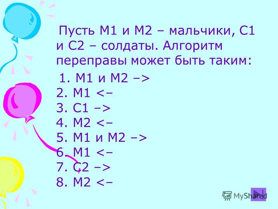 Пусть М1 и М2 – мальчики, С1 и С2 – солдаты. Алгоритм переправы может быть таким: 1. М1 и М2 –> 2. М1 4. М2 6. М1 8. М2