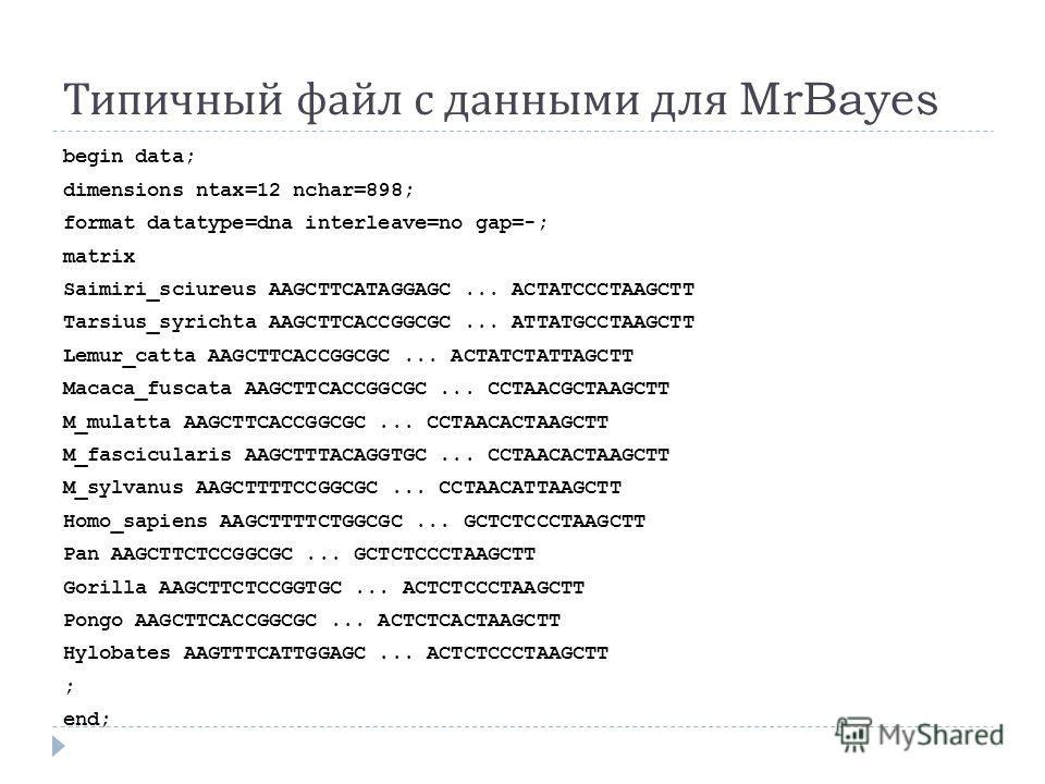 Типичный файл с данными для MrBayes begin data; dimensions ntax=12 nchar=898; format datatype=dna interleave=no gap=-; matrix Saimiri_sciureus AAGCTTCATAGGAGC... ACTATCCCTAAGCTT Tarsius_syrichta AAGCTTCACCGGCGC... ATTATGCCTAAGCTT Lemur_catta AAGCTTCA