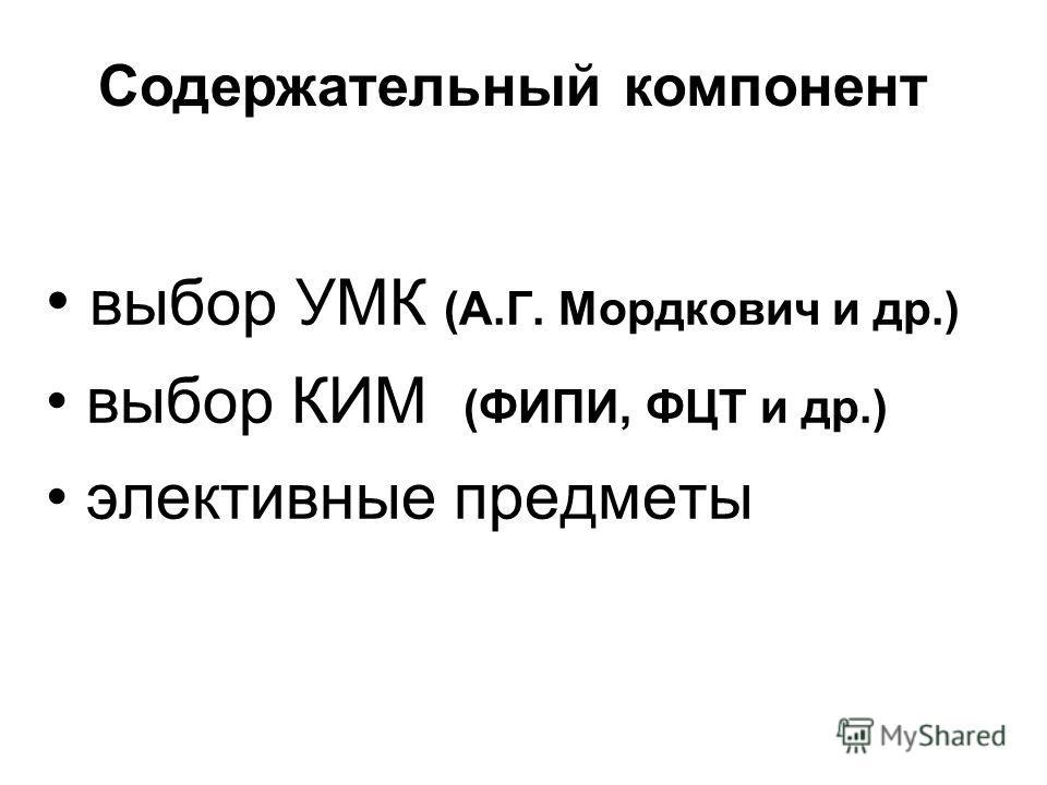 выбор УМК (А.Г. Мордкович и др.) выбор КИМ (ФИПИ, ФЦТ и др.) элективные предметы Содержательный компонент