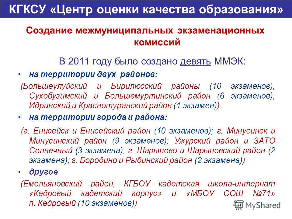 Создание межмуниципальных экзаменационных комиссий В 2011 году было создано девять ММЭК: на территории двух районов: (Большеулуйский и Бирилюсский районы (10 экзаменов), Сухобузимский и Большемуртинский район (6 экзаменов), Идринский и Краснотурански