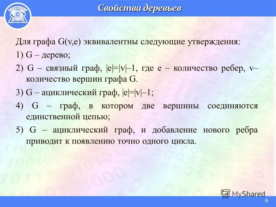 Для графа G(v,e) эквивалентны следующие утверждения: 1) G – дерево; 2) G – связный граф, |e|=|v|–1, где e – количество ребер, v– количество вершин графа G. 3) G – ациклический граф, |e|=|v|–1; 4) G – граф, в котором две вершины соединяются единственн