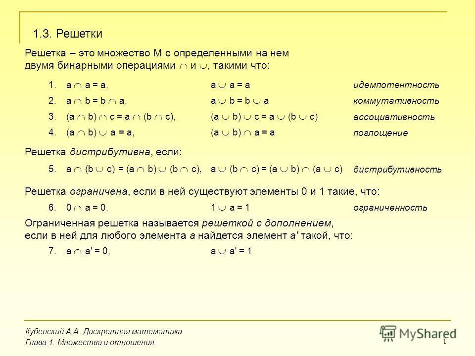 1 Кубенский А.А. Дискретная математика Глава 1. Множества и отношения. 1.3. Решетки Решетка – это множество M с определенными на нем двумя бинарными операциями и, такими что: 1.a a = a,a a = a 2.a b = b a,a b = b a идемпотентность коммутативность 3.(