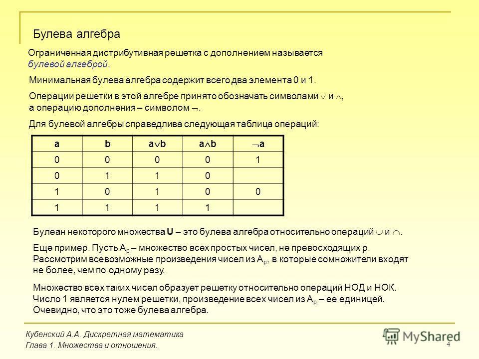 4 Кубенский А.А. Дискретная математика Глава 1. Множества и отношения. Булева алгебра Ограниченная дистрибутивная решетка с дополнением называется булевой алгеброй. Минимальная булева алгебра содержит всего два элемента 0 и 1. Операции решетки в этой